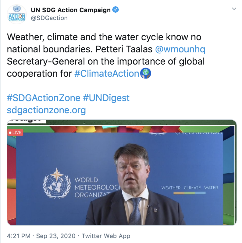 WMO SG Taalas on SDGs 23.9.2020