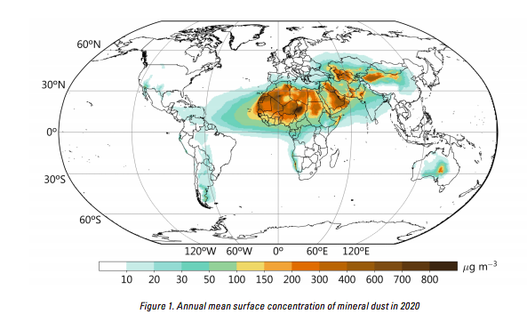 Annual mean surface concentration of mineral dust in 2020