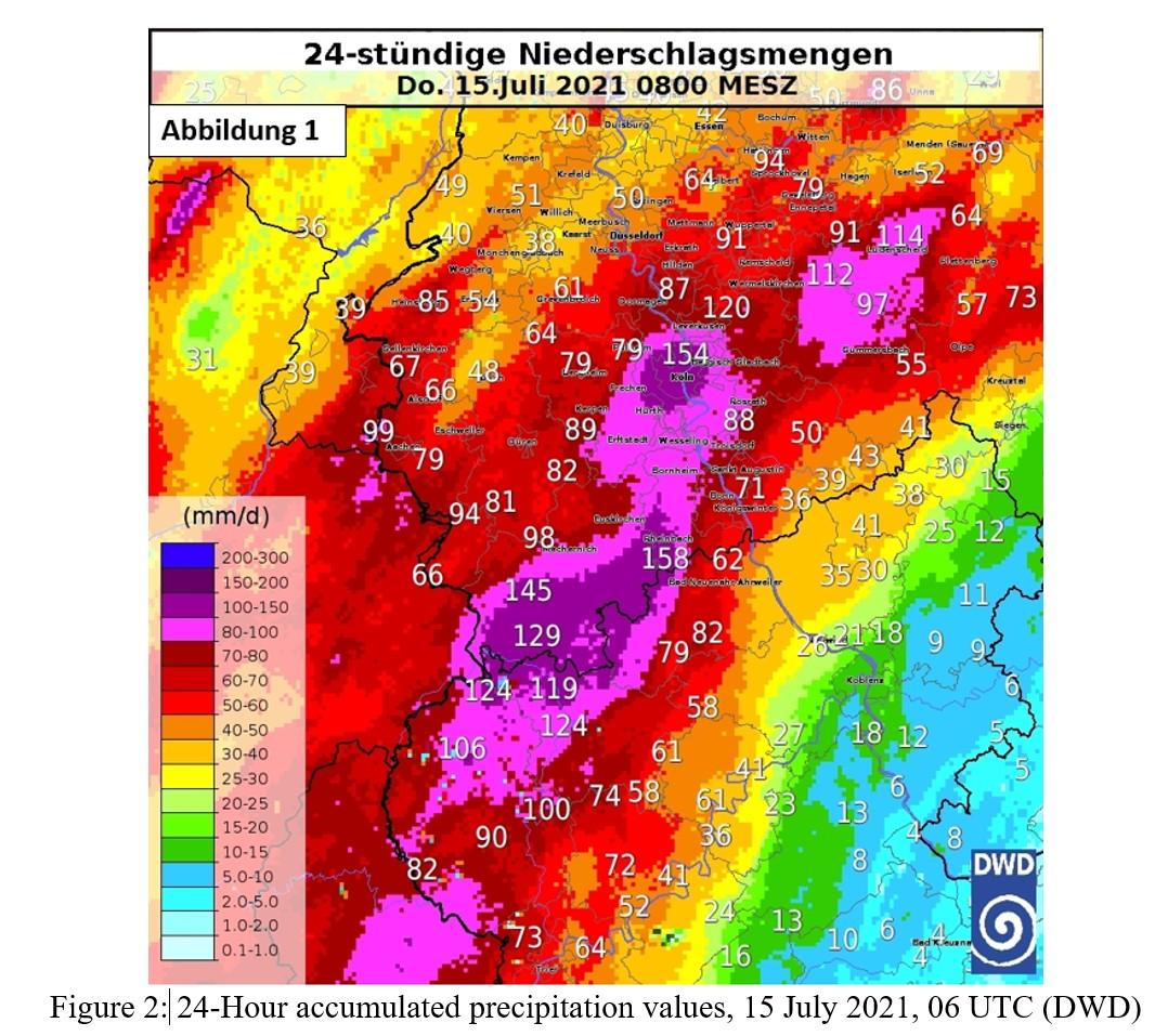 24-Hour accumulated precipitation values