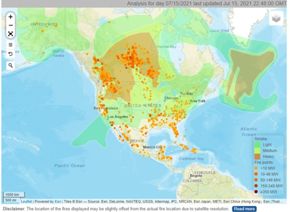 Hazard mapping system fire and smoke product for North America, 15th July 2021 (OSPO/NOAA)