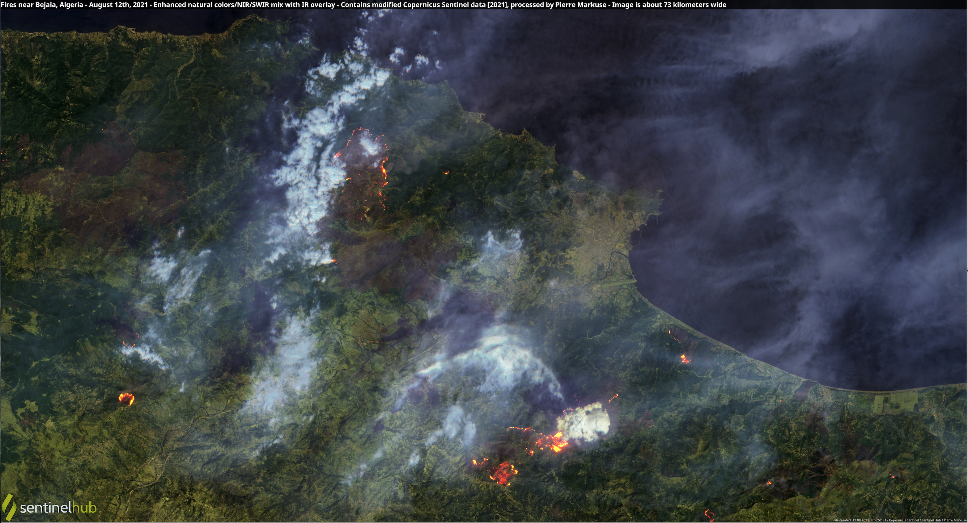Algeria Fires, 12 August 21 -Sentinel Hub