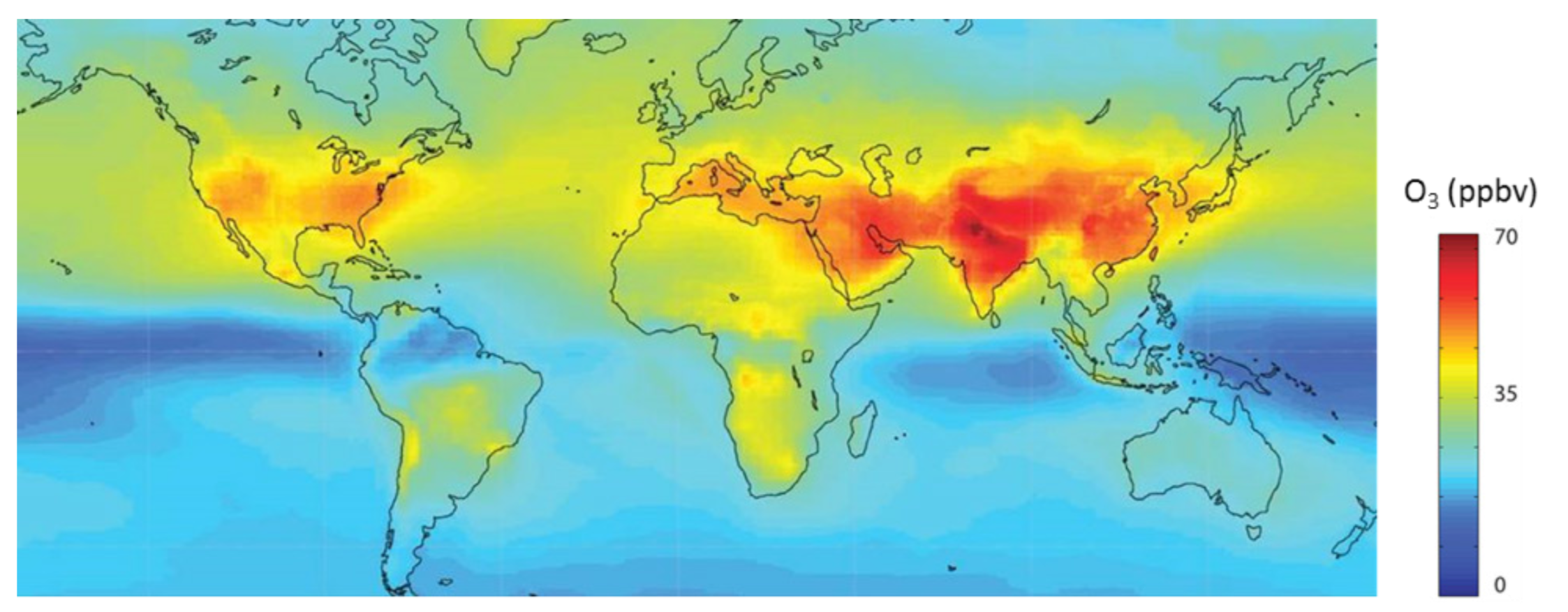 Surface ozone concentrations in 2010