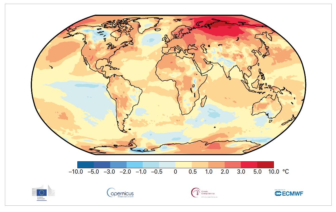 Temperature anomalies relative to 1981-2010