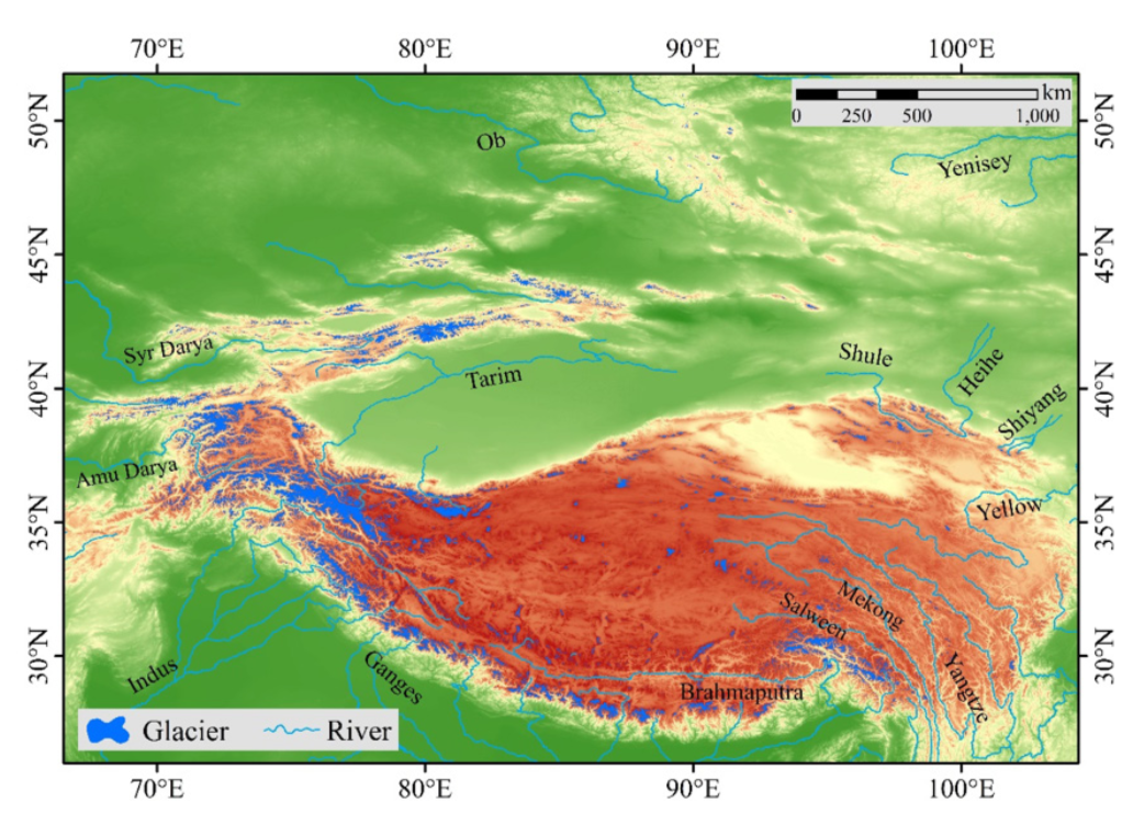Figure 1. Glaciers distribution over theTP and its surrounding areas.