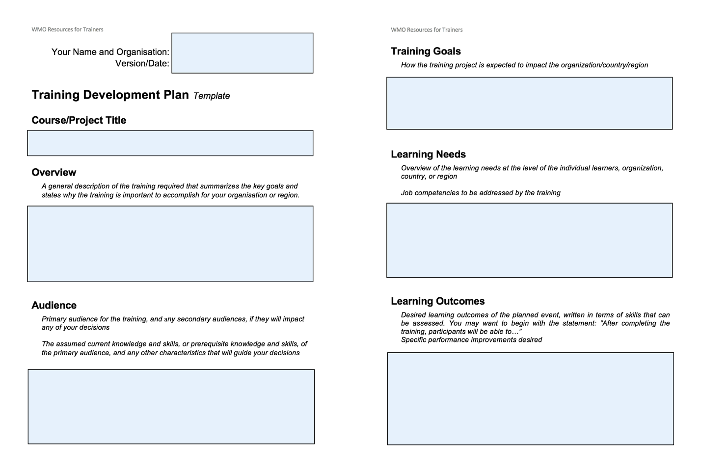 Figure 1: Pages one and two of the Training Development Plan template used in 2019