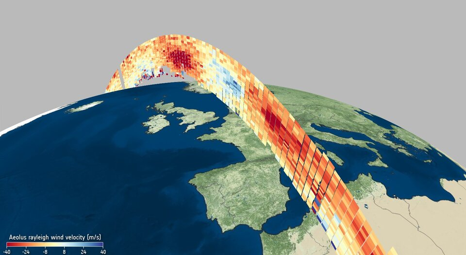 Wind profile from Aeolus 6 May 2020, ESA