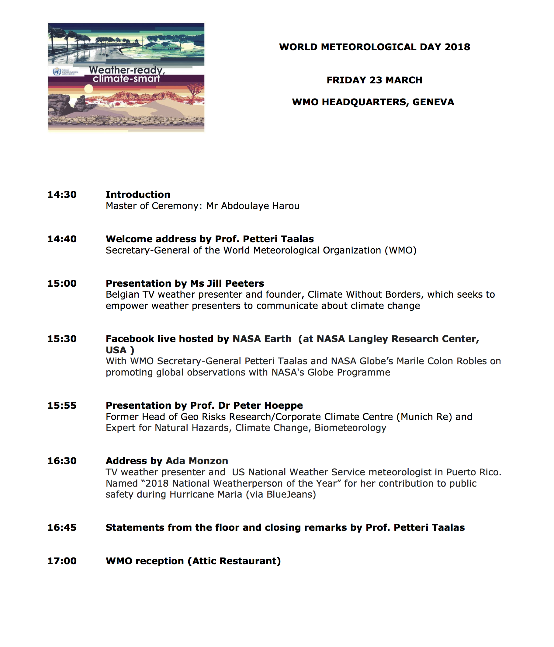 World Met Day Programme