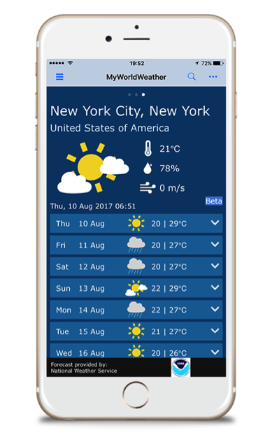 My World Weather mobile app