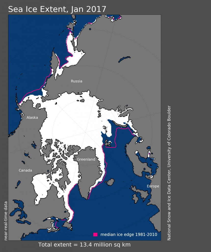 Arctic sea ice extent, Jan 2015. NSIDC