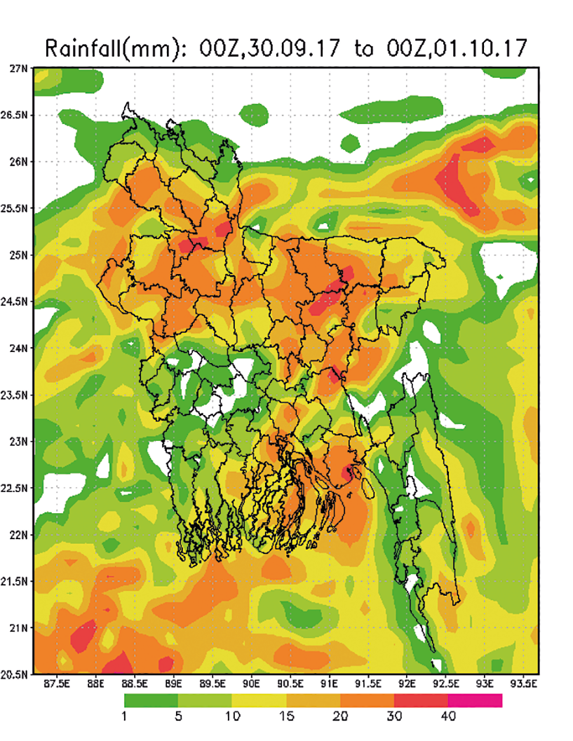 WRF model rainfall forecast