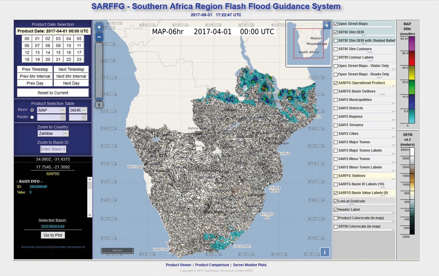 Figure 2a. Interactive forecaster interface for the GFFG system referring to the Southern Africa regional system