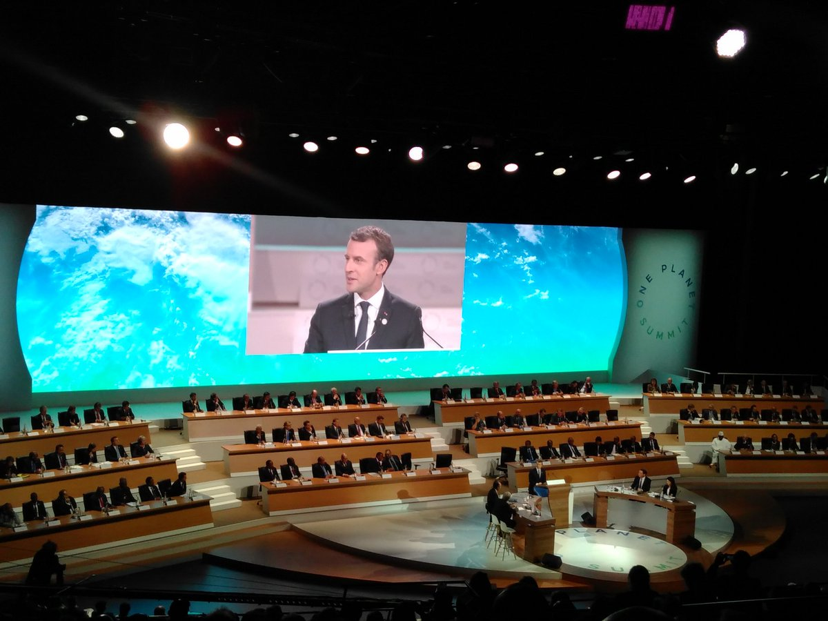 French President Macron at One Planet Summit
