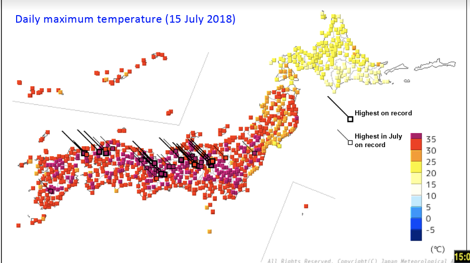 Daily max temperature - July 2018 - JMA