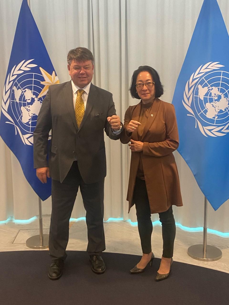 Prof. Petteri Taalas, WMO Secretary-General and Mami Mizutori, the UN Secretary-General's Special Representative for Disaster Risk Reduction