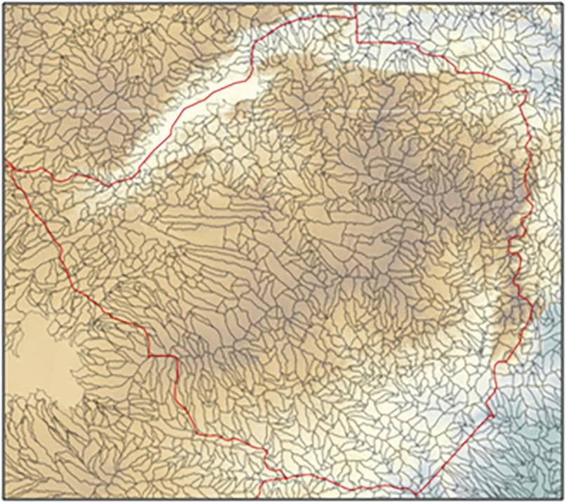 Relief map Zimbabwe