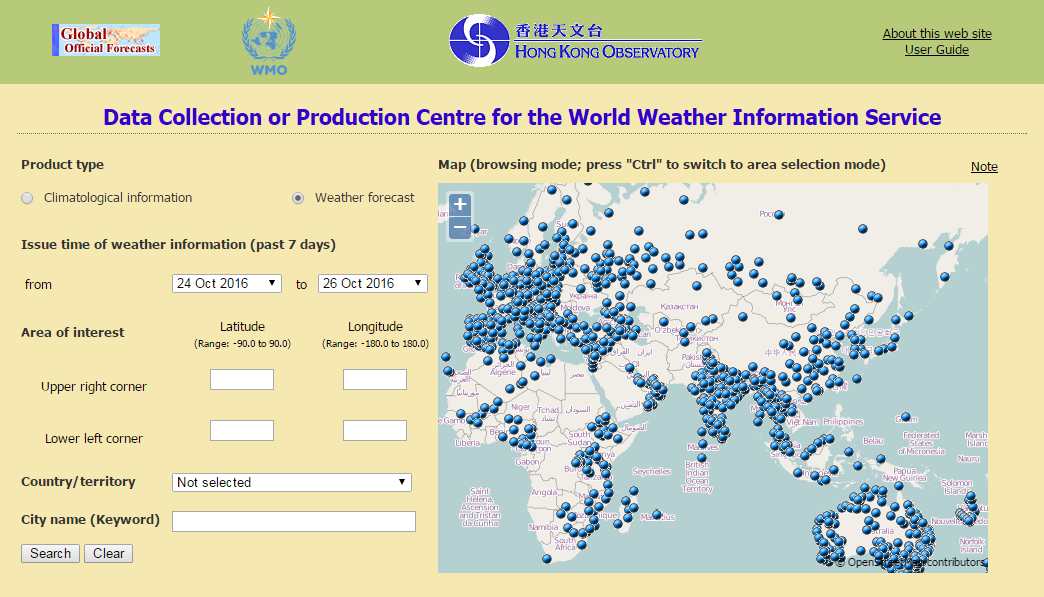 Data Collection or Production Centre for the World Weather Information Service