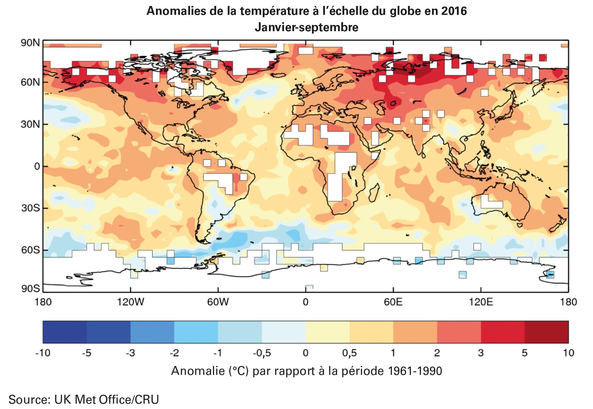 Déclaration provisoire de l'OMM sur l'état du climat mondial en 2016