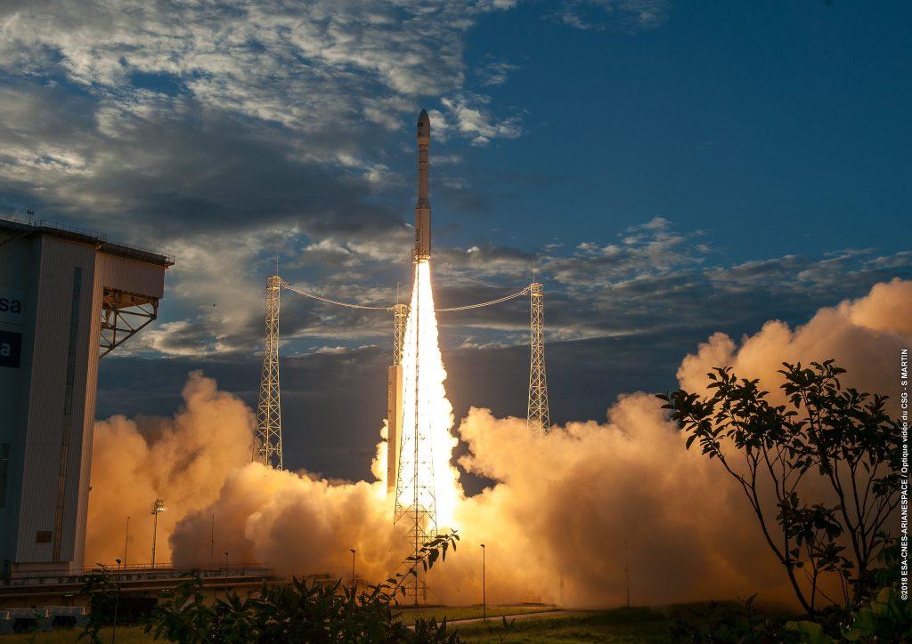Aeolus heads for orbit. (ESA/CNES/Arianespace)