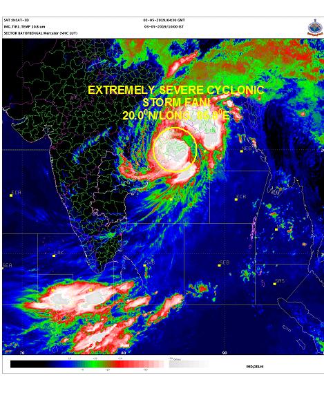 CycloneFani makes landfall in Odisha, India on 3 May
