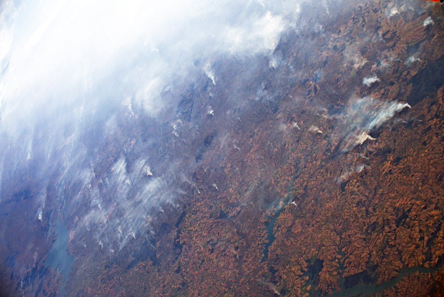 Amazon fires as seen from International space station. Photo ESA