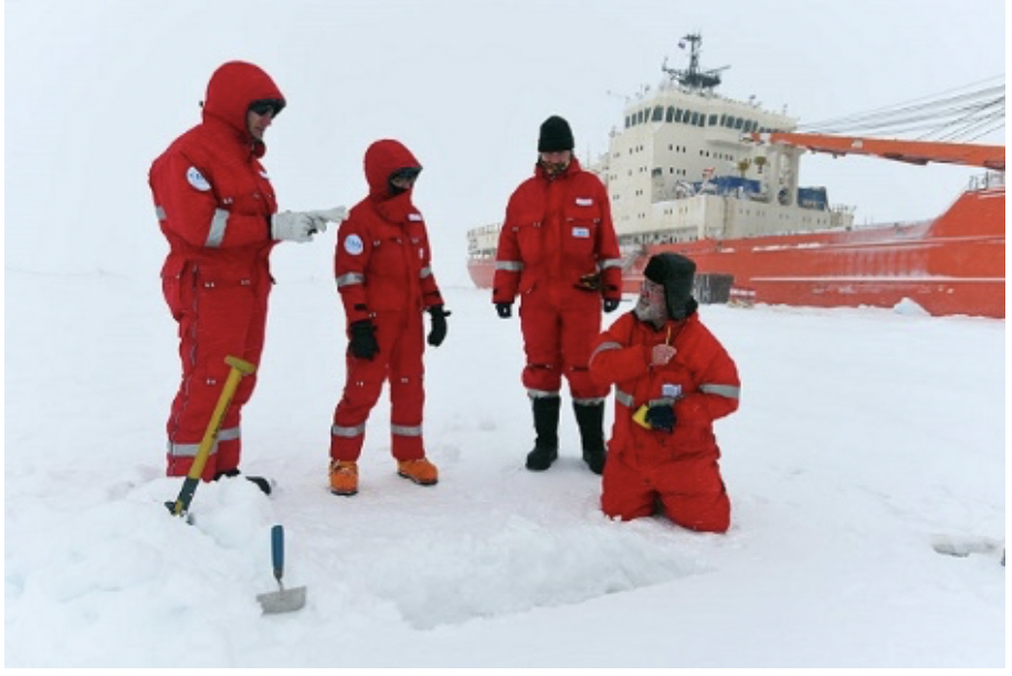 The members of the Roshydromet Transarctic expedition are taking snow samples for isotope analysis