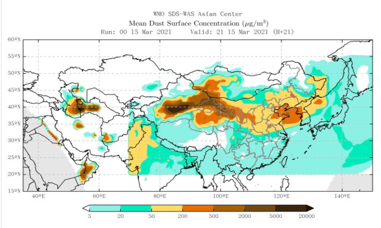 Sand and dust storm hits Asia 15.3.2021