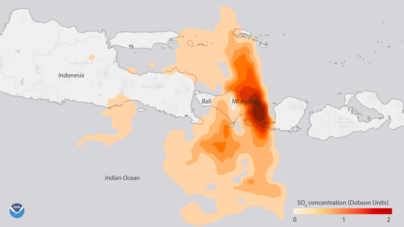 Data from NASA's Aura satellite shows the high sulfur dioxide (SO2) concentrations associated with the volcanic eruption of Mount Agung