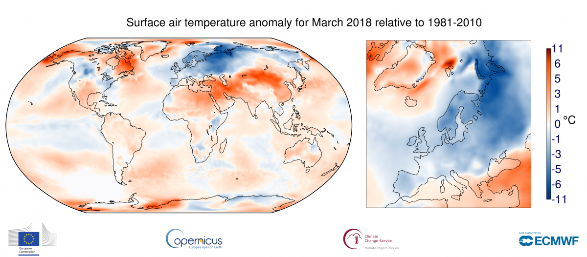 Surface air temperature anomaly for March 2018