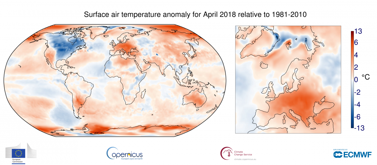 Surface air temperature anomaly for April 2018