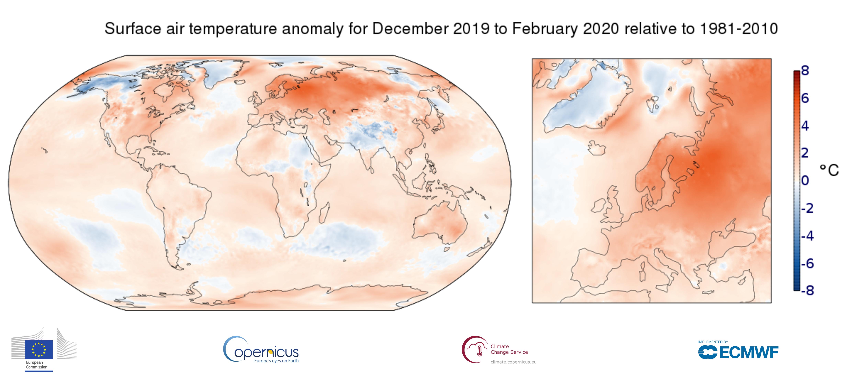 Europe has warmest winter on record: Copernicus/ECMWF