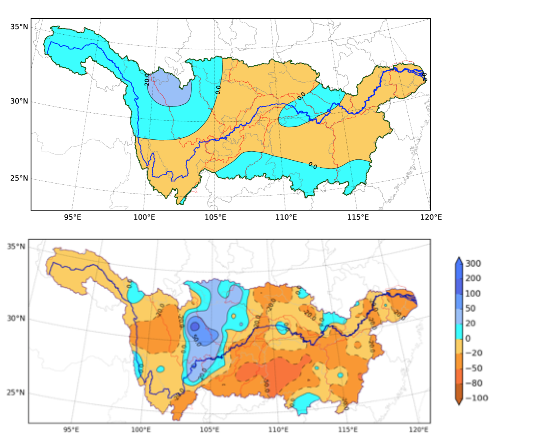 Precipitation anomaly predictions by percentage for June- August 2013 (top) and the observed results (bottom)