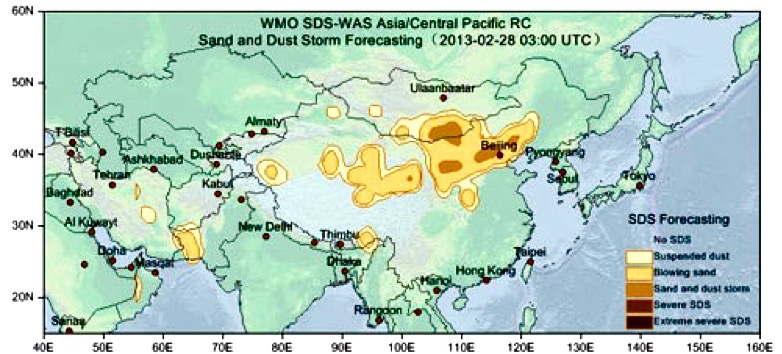 Sand and dust storm forecast for 28 February 2013 at 03:00 UTC issued by the WMO SDS-WAS Asian RC