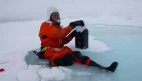 Biologist Mar Fernandez-Mendez, N-ICE2015 expedition, Norway
