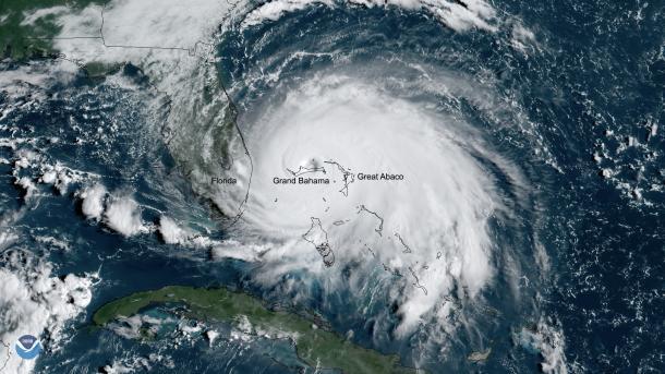 Hurricane Dorian, 02 September 2019. GOES-16. NOAA