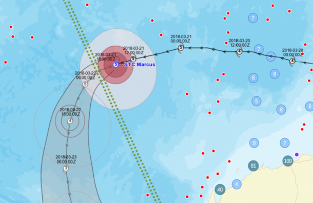 Example of Tropical Cyclone Warning Path
