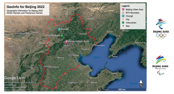 Figure 1. Locations of the three sporting zones and the solid red line indicates the Beijing–Tianjin–Hebei (BTH) boundary (figure created with Google Earth Pro)