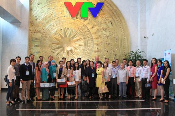 Workshop participants in the lobby of Vietnam Television (VTV) headquarters