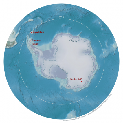 Map of antarctic region