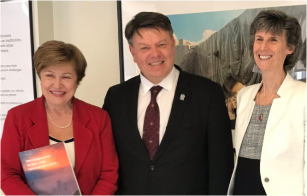 World Bank interim President Kristalina Georgieva, World Bank Vice President Laura Tuck and WMO SG Petteri Taalas 1.4.2019