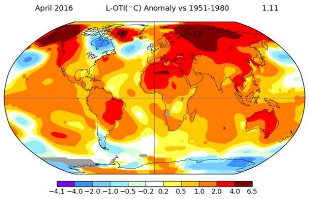 NASA: April global temperatures