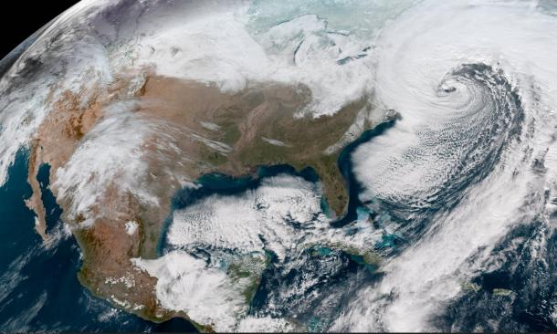 The new GOES-East satellite is capturing breathtaking images of blizzard 2018 battering the East Coast today. Find more images at http://weather.gov/satellite