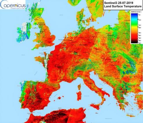 Land surface temperature over Europe measured 25 July by Copernicus Sentinel3  satellite