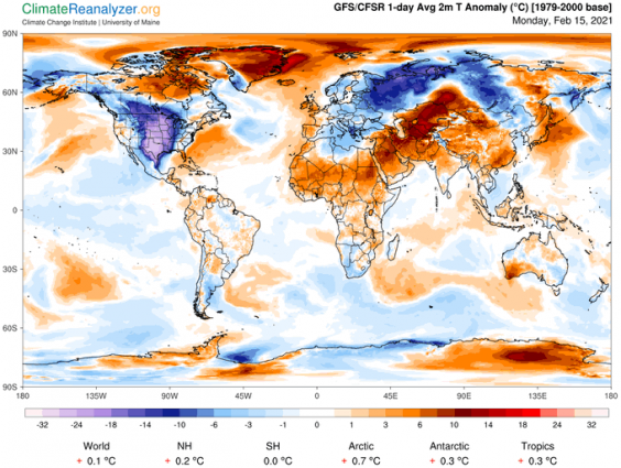 US Cold Wave Feb 2021: Climate Reanalyzer