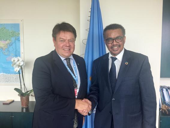 WMO SG Taalas meets WHO DG Tedros to strengthen collaboration