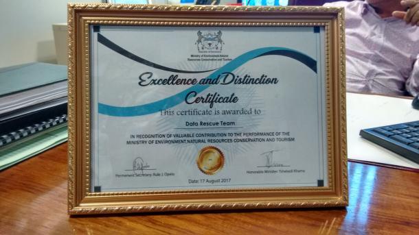 Award for Botswana data-rescue success Credit: Frank Kaspar, DWD