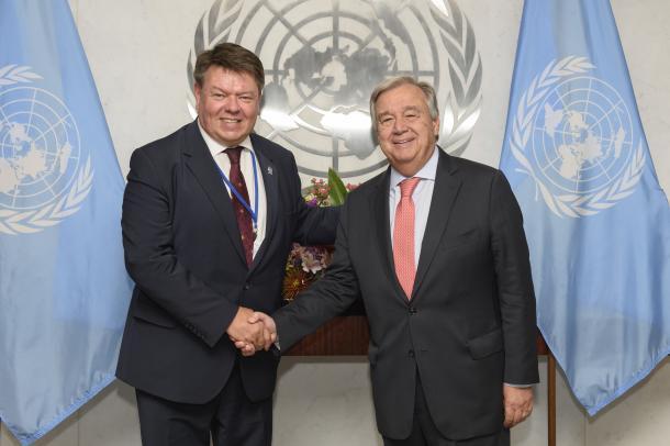 WMO SG - UNSG Guterres (Credit: UN Photo/Loey Felipe)