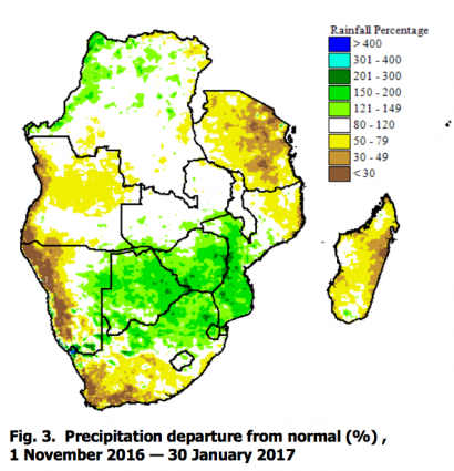 SADC rainfall season 2016-2017