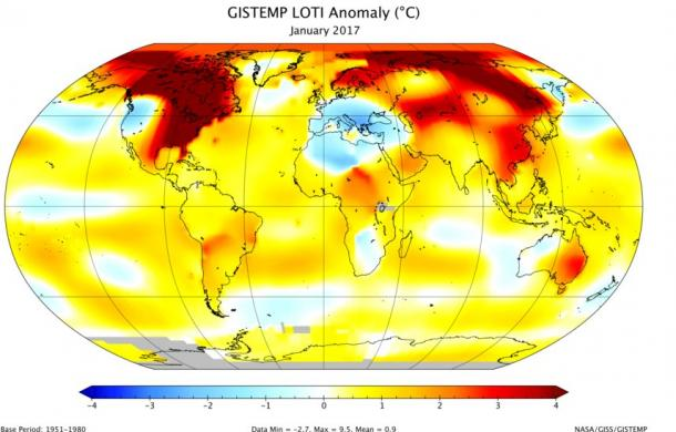 NASA GISS January 2017 global temperatures