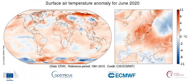 June 2020 global temperatures