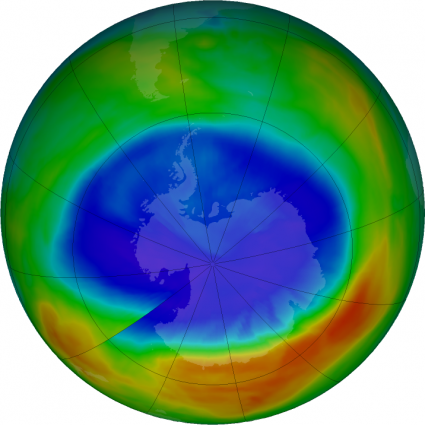 At its peak on Sept. 11, 2017, the ozone hole extended across an area nearly two and a half times the size of the continental United States. The purple and blue colors are areas with the least ozone. Credits: NASA/NASA Ozone Watch/Katy Mersmann